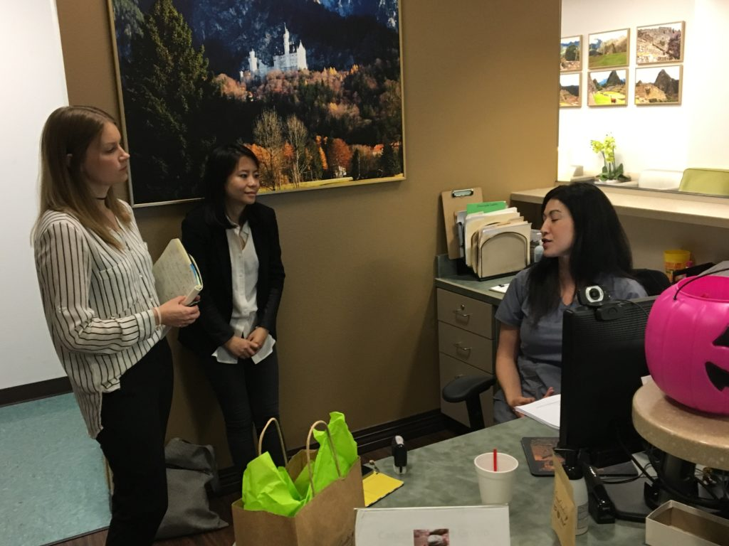 Me (left) and Tiffany Ho, CEO, interviewing a front office secretary at a local clinic